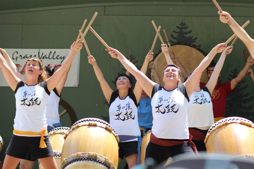 Grass Valley Taiko on stage at the fair