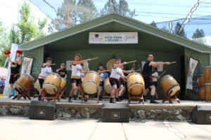 Grass Valley Taiko on stage